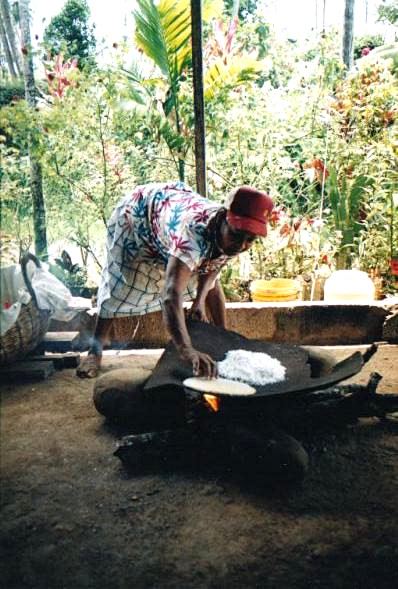 Making of cassava bread, Carib Territory