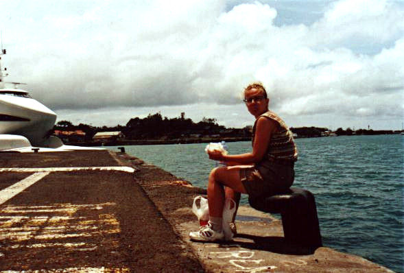 Tiina in the port of Pointe-à-Pitre