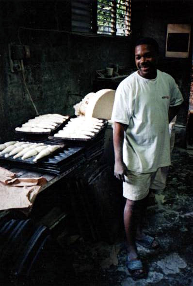 Baker in his bakery at Pointe-Noire, Guadeloupe