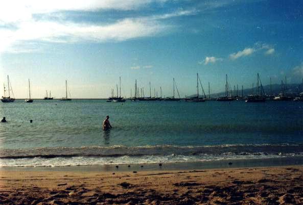 Tiina swimming at a beach (L'Anse Mitan)