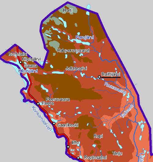 Raittijärvi ja Käsivarren kartta