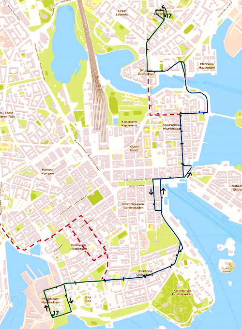 Bussin 17 uusi reittiehdotus Eiranranta-Karhupuisto